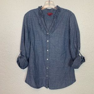 Merona chambray shirt ruffle collar M VGUC
